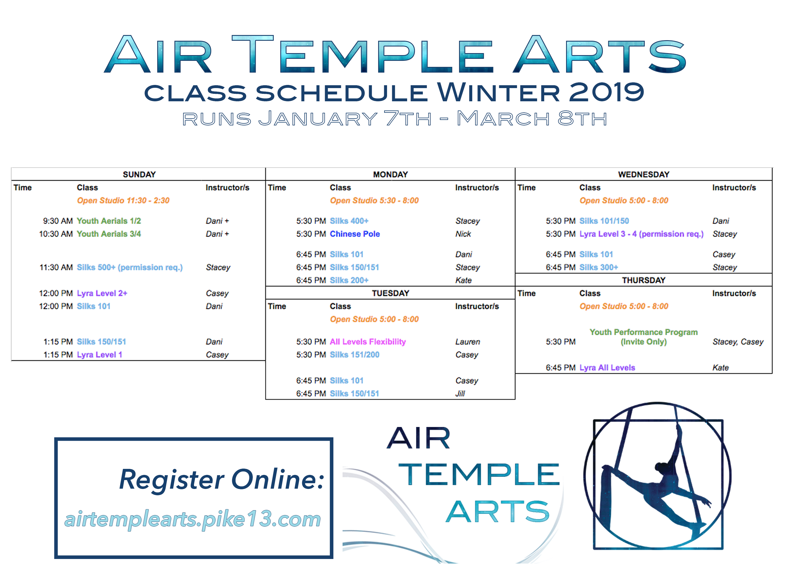 calendar air temple arts